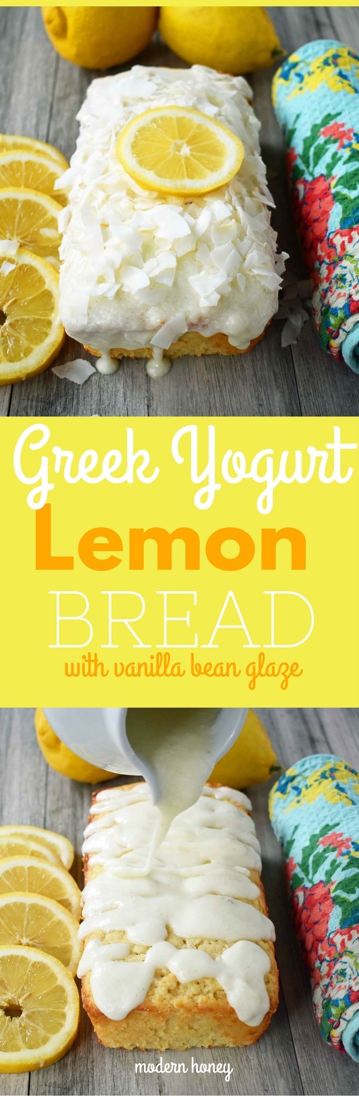 Greek Yogurt Lemon Bread with Vanilla Bean Glaze and Coconut. Sweet and moist lemon yogurt cake topped with creamy vanilla glaze. www.modernhoney.com