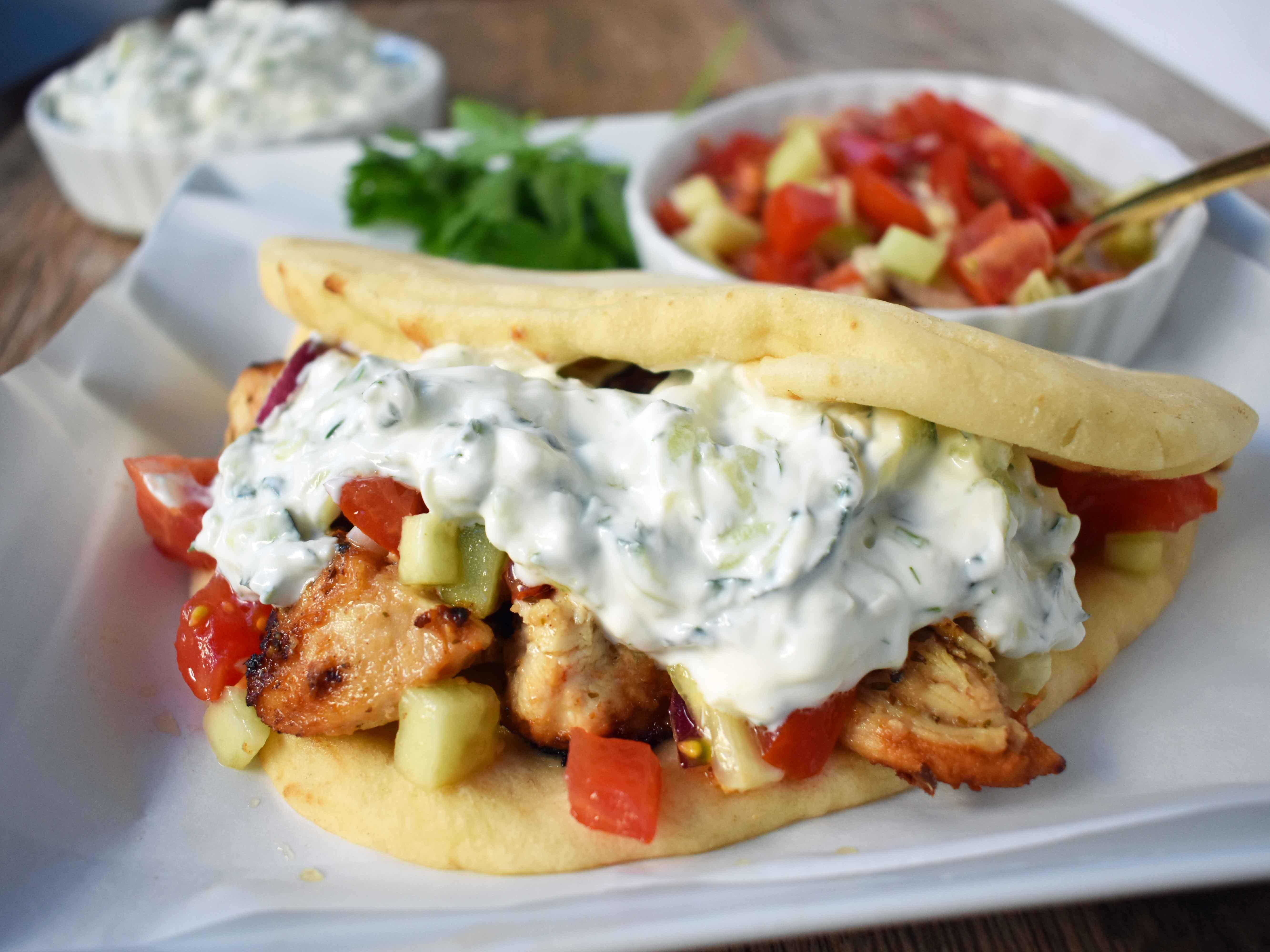 Greek Chicken Gyros with Tzatziki Sauce