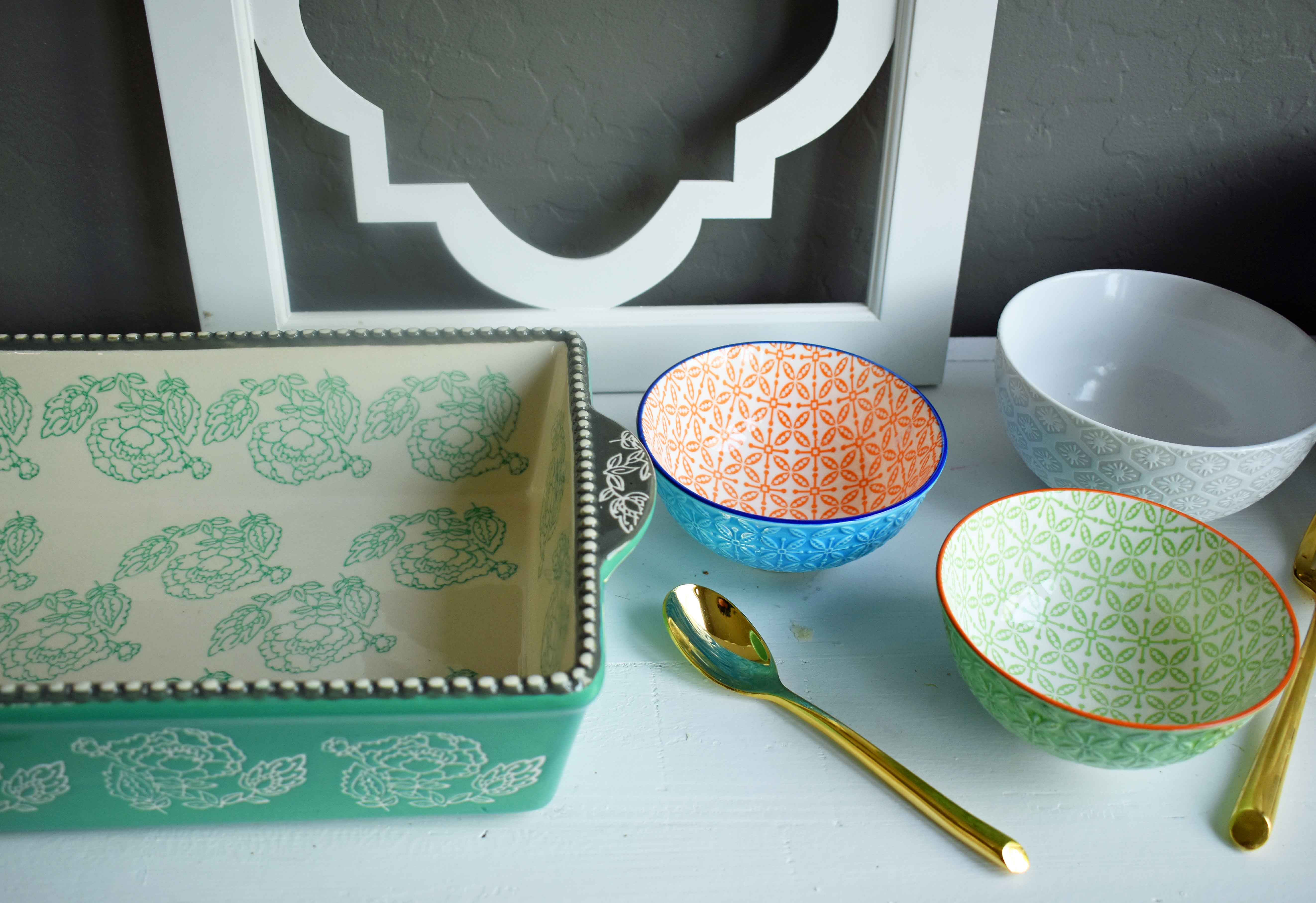 Spring Decoration Ideas. Bright and beautiful dishes from World Market to brighten your kitchen.