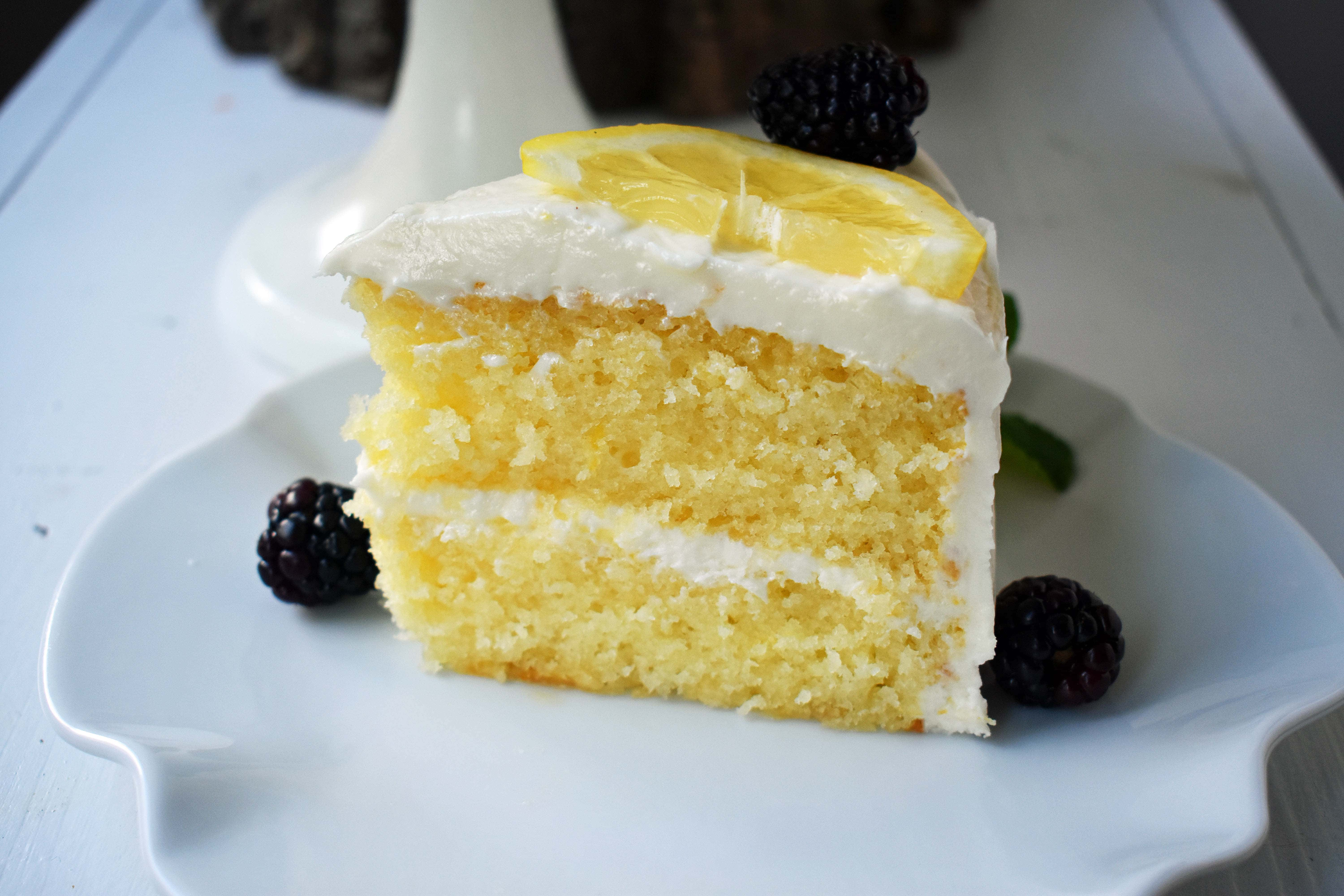 Lemon Frosted Angel Food Cake