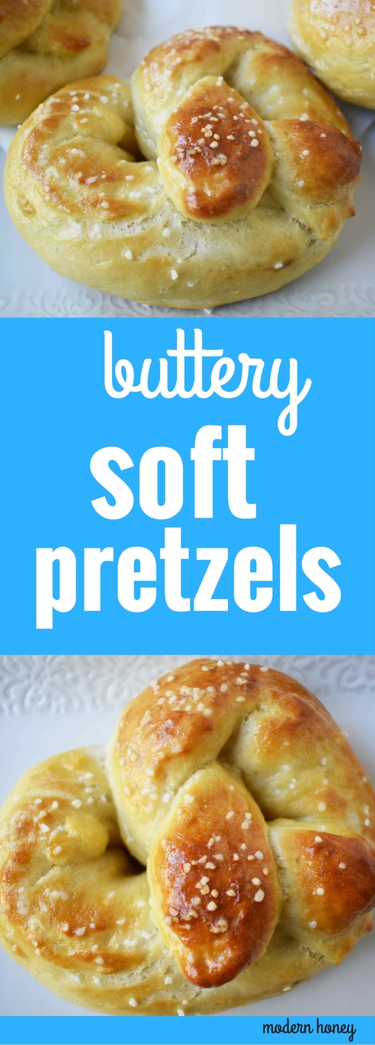 Buttery Soft Pretzels. Homemade, made from scratch soft pretzels. Buttery, soft, and fluffy pretzels with melted butter and coarse salt. Super easy to make! www.modernhoney.com