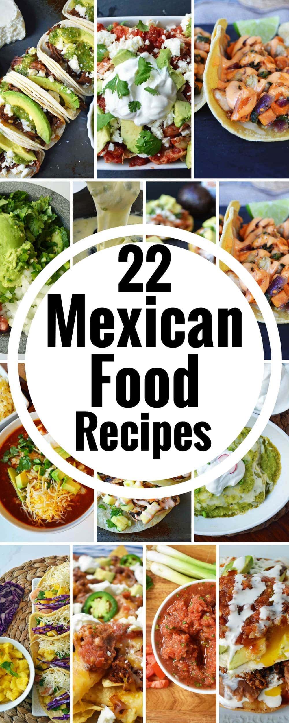 22 Mexican Food Cinco de Mayo Recipes. All of the best authentic Mexican food recipes. www.modernhoney.com #mexican #mexicanfood #cincodemayo #mexicanfoodrecipes #cincodemayorecipes #enchiladas #tacos #tostadas #friedicecream #guacamole
