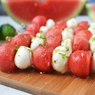 Fresh Mozzarella Watermelon Skewers with Honey Lime Drizzle