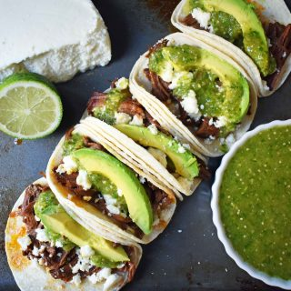 Slow Cooker Beef Barbacoa Tacos with Tomatillo Salsa