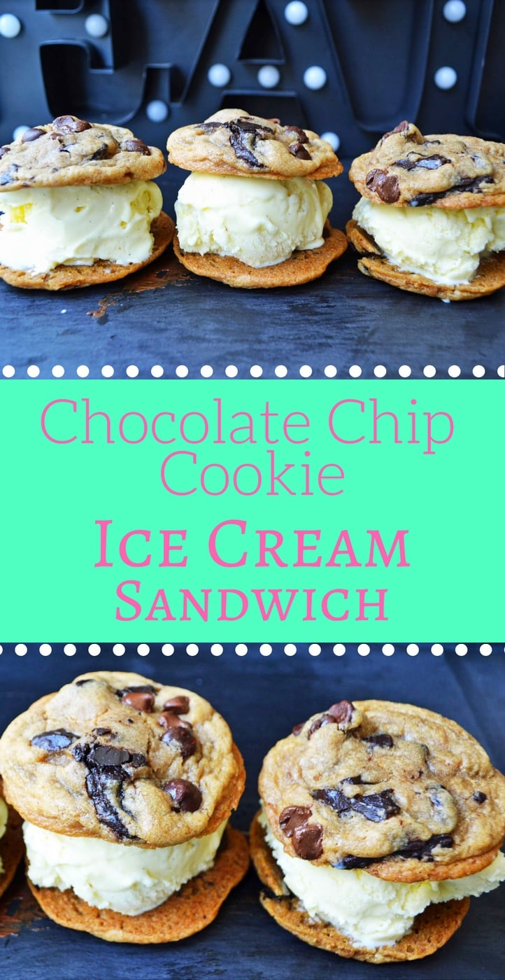 Chocolate Chip Cookie Ice Cream Sandwich. Ultimate soft chocolate chip cookies stuffed with homemade vanilla bean ice cream. The most popular ice cream sandwich. www.modernhoney.com