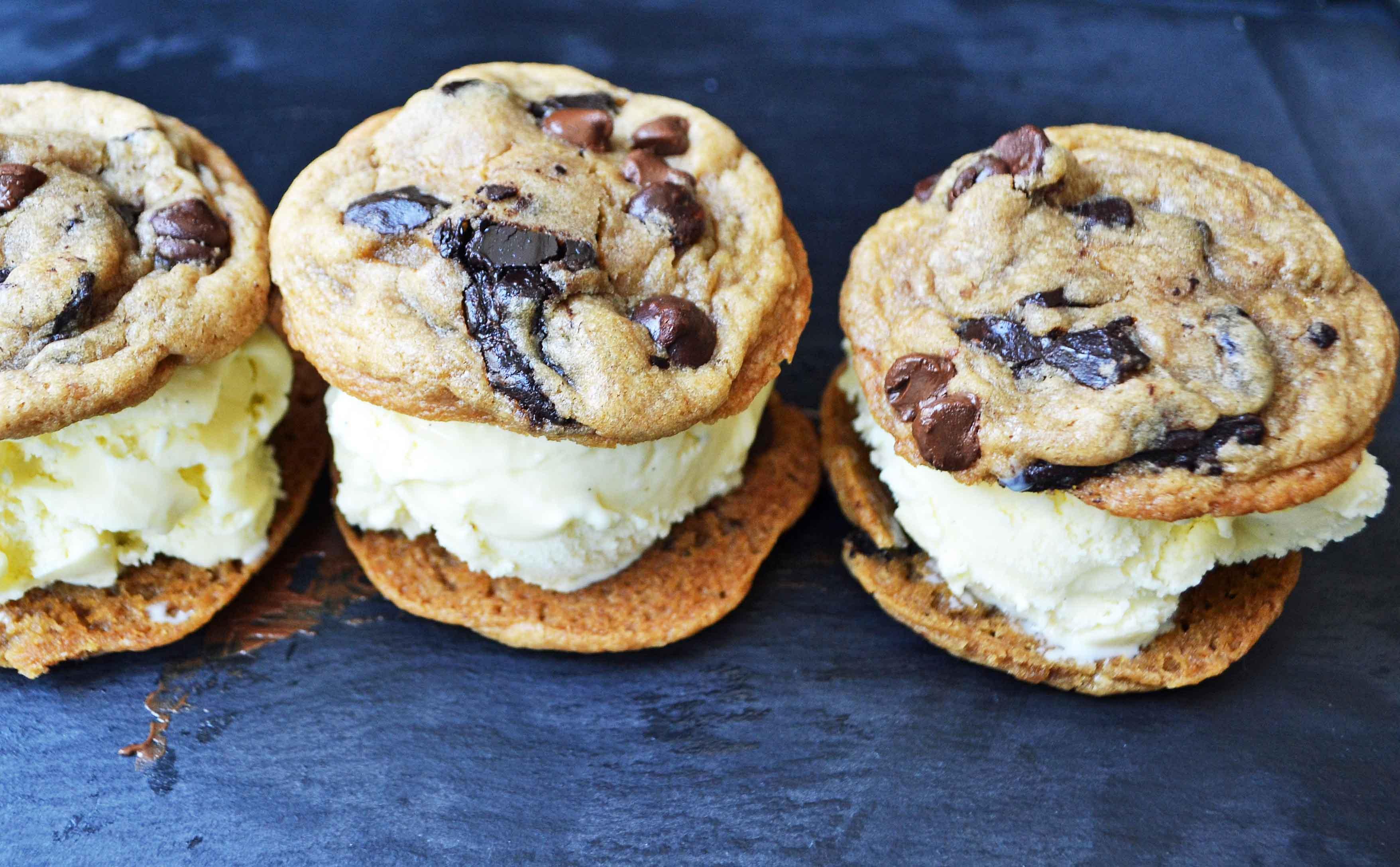 Chocolate Chip Cookie Ice Cream Sandwich. Ultimate soft chocolate chip cookies stuffed with homemade vanilla bean ice cream. The most popular ice cream sandwich. www.modernhoney.com