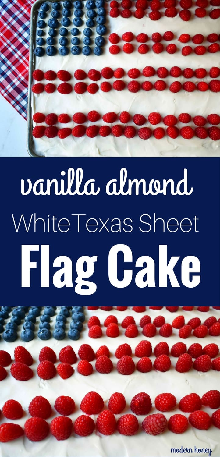 Vanilla Almond White Texas Sheet Cake. A vanilla white cake poured to a jelly roll pan and baked until moist and tender. Topped with almond cream cheese frosting and fresh berries. Perfect flag cake for a 4th of July celebration. www.modernhoney.com