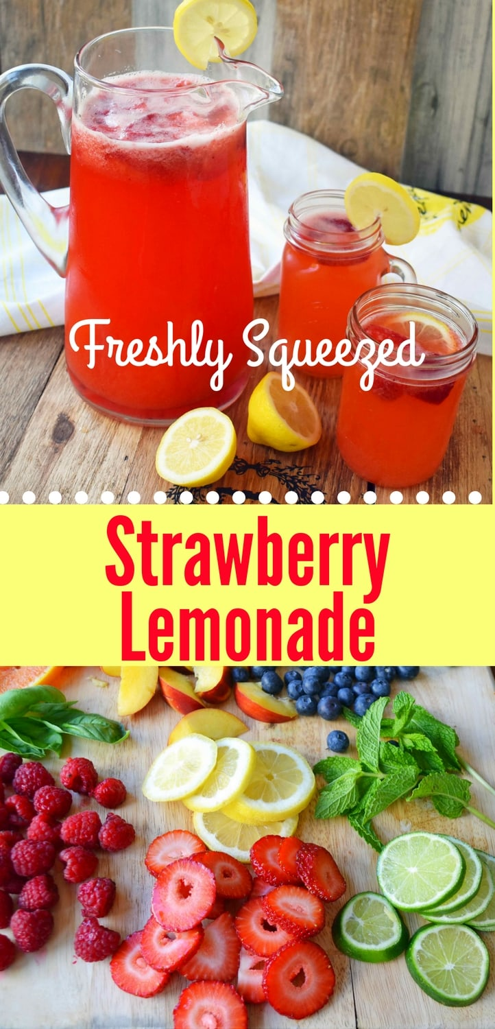Fresh Strawberry Lemonade made with freshly squeezed lemon juice, fresh strawberries, sweet sugar, water, and ice. A super simple drink that is perfect for summer! www.modernhoney.com