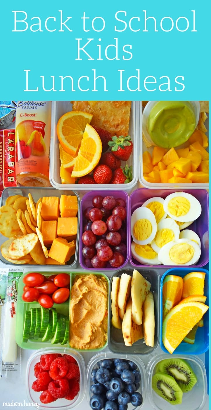 Back to School Kids Lunch Ideas. Healthy kids lunch ideas that includes wraps, roll-ups, sandwiches, quesadillas, gluten-free, meat and cheese kabobs, lunch snack ideas, and fresh fruits and veggies. Healthy lunch ideas by Modern Honey. www.modernhoney.com