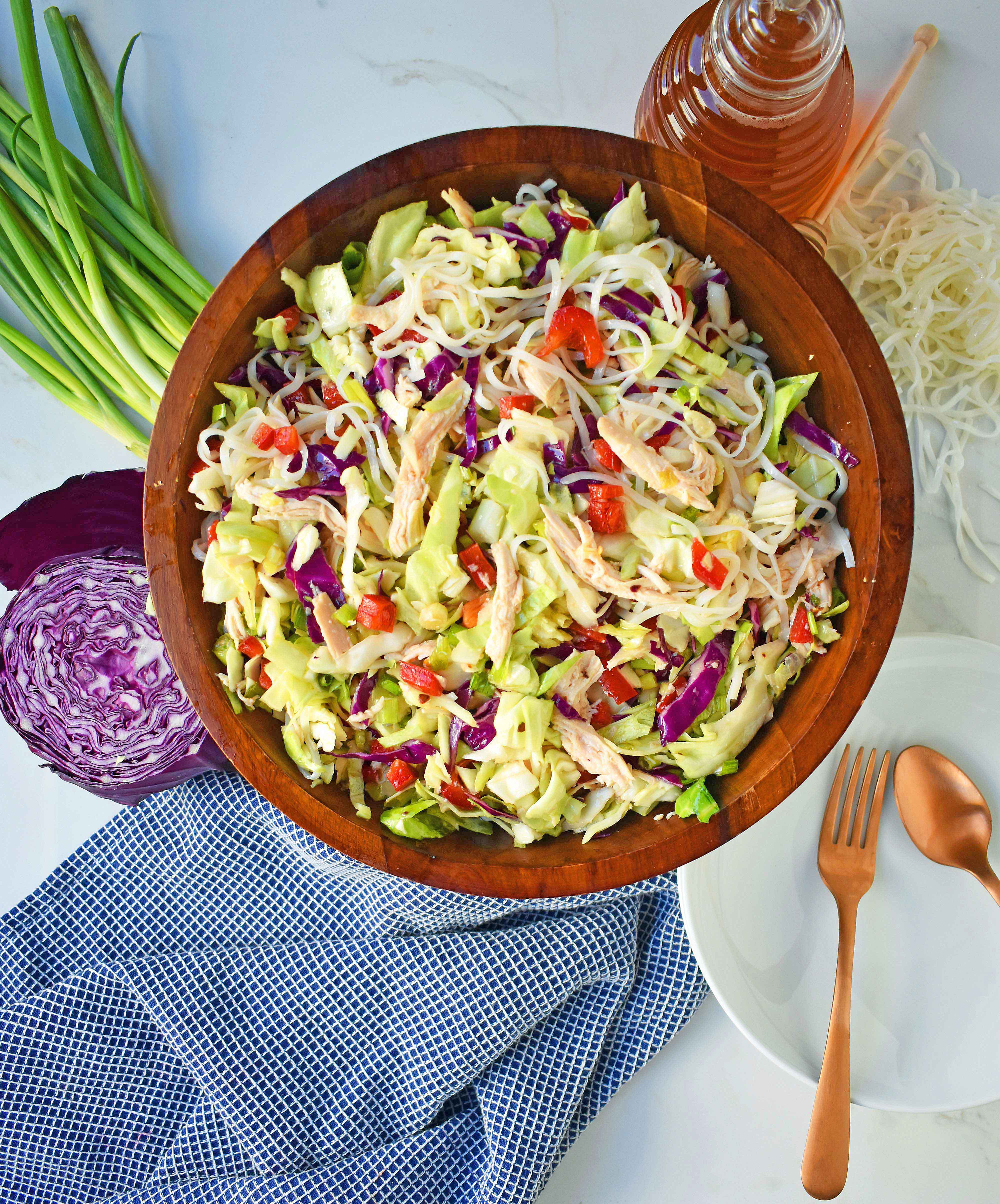 Chinese Chicken Salad with crunchy cabbage, tender chicken, green onions, red pepper, almonds, all tossed in a honey ginger dressing. May add rice or soba noodles if you so desire. A gluten- free and dairy-free Chinese Chicken Noodle Salad. A healthy salad that is perfect for a potluck. www.modernhoney.com