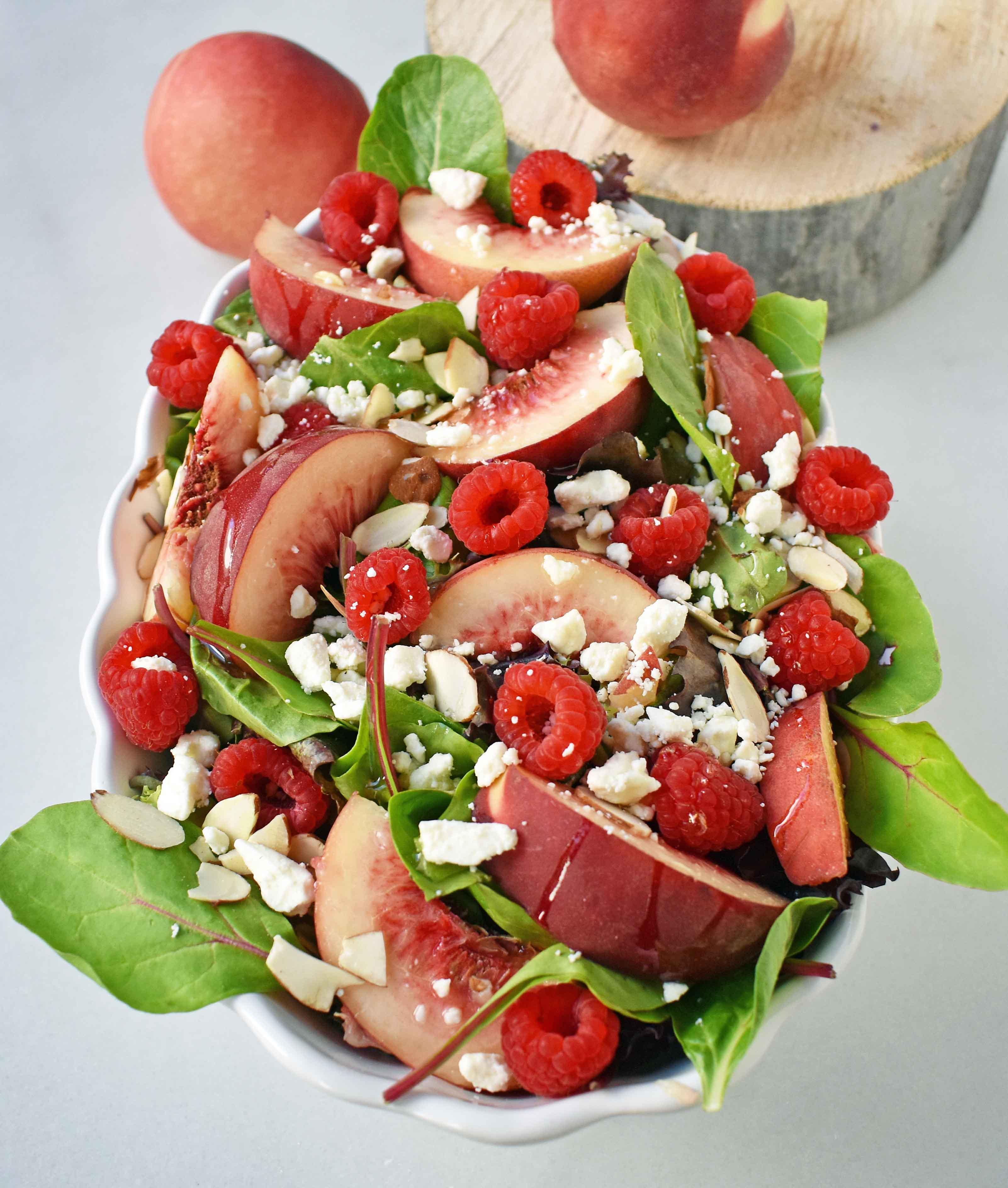 White Peach Raspberry Almond Salad
