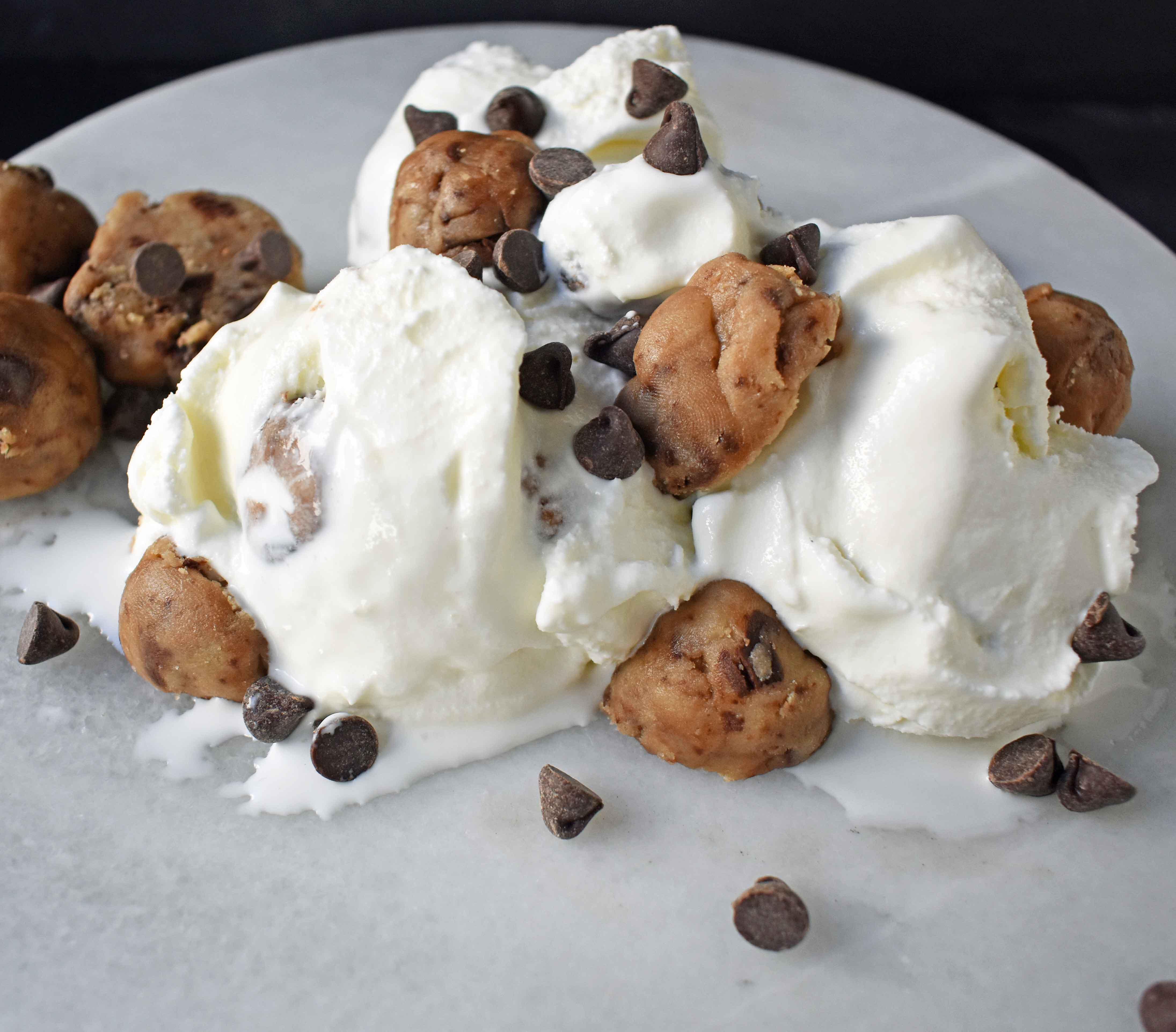 Homemade Chocolate Chip Cookie Dough Ice Cream. Made with sweet cream ice cream and homemade chocolate chip cookie dough. The perfect homemade ice cream! www.modernhoney.com