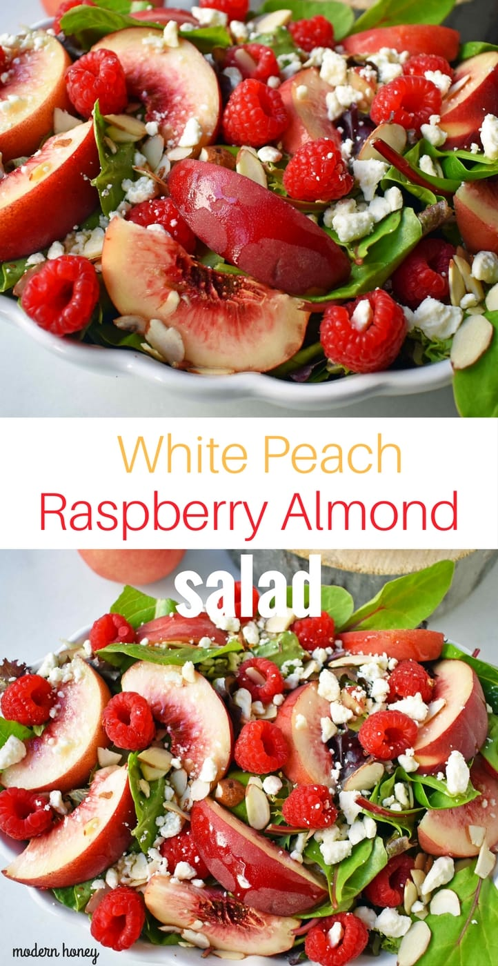 White Peach Raspberry Almond Salad. Fresh white peaches or nectarines, plump raspberries, candied almonds, creamy feta or white cheddar cheese all tossed with a sweet dressing. The perfect summer raspberry peach salad. www.modernhoney.com