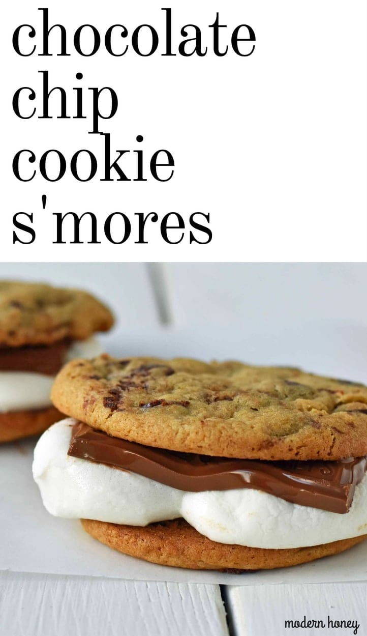 Chocolate Chip Cookie S'mores. Warm, homemade chocolate chip cookies sandwiched with melted toasted marshmallow and rich milk chocolate. The ultimate s'mores. www.modernhoney.com