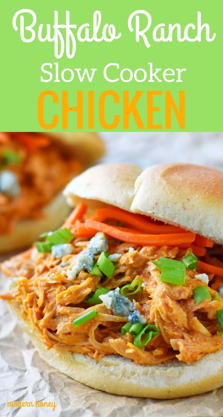 Buffalo Ranch Slow Cooker Chicken made with chicken breast, ranch dressing powder, buffalo wing sauce and cream cheese. This buffalo ranch chicken is made with only 4 ingredients. Can be made into buffalo chicken sliders. Perfect for football tailgate parties or potlucks. www.modernhoney.com