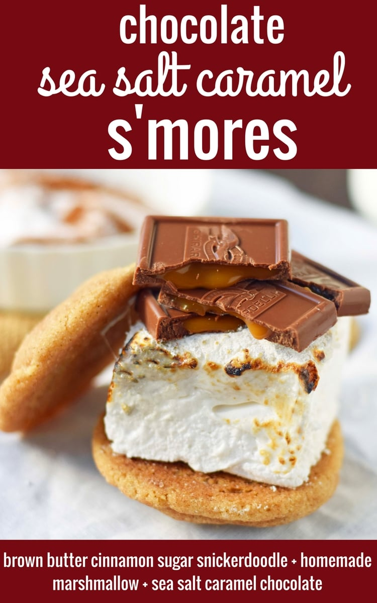 Chocolate Sea Salt Caramel S'mores. Brown Butter Cinnamon Sugar Snickerdoodles layered with homemade marshmallows, sea salt chocolate caramel ghirardelli squares. www.modernhoney.com