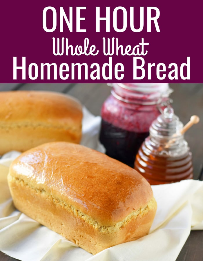 One Hour Whole Wheat Bread Recipe. How to make perfect homemade bread in one hour. Tips and tricks for making the best homemade bread. www.modernhoney.com #homemadebread #bread #wholewheatbread