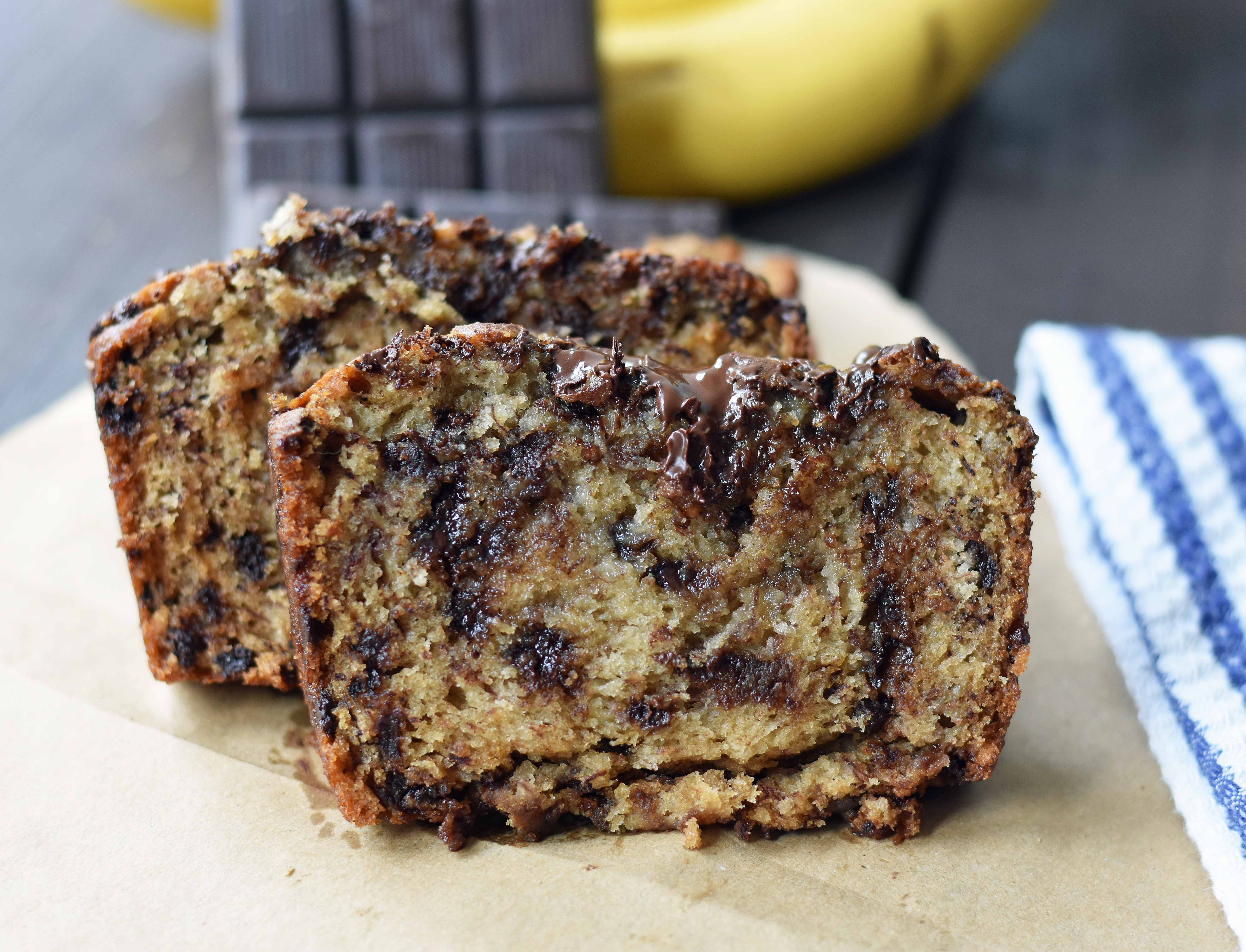 The best ever chocolate chip banana bread. Moist and delicious banana bread with chocolate chips. Banana bread made with butter, oil, and sour cream to create a perfect banana bread. www.modernhoney.com