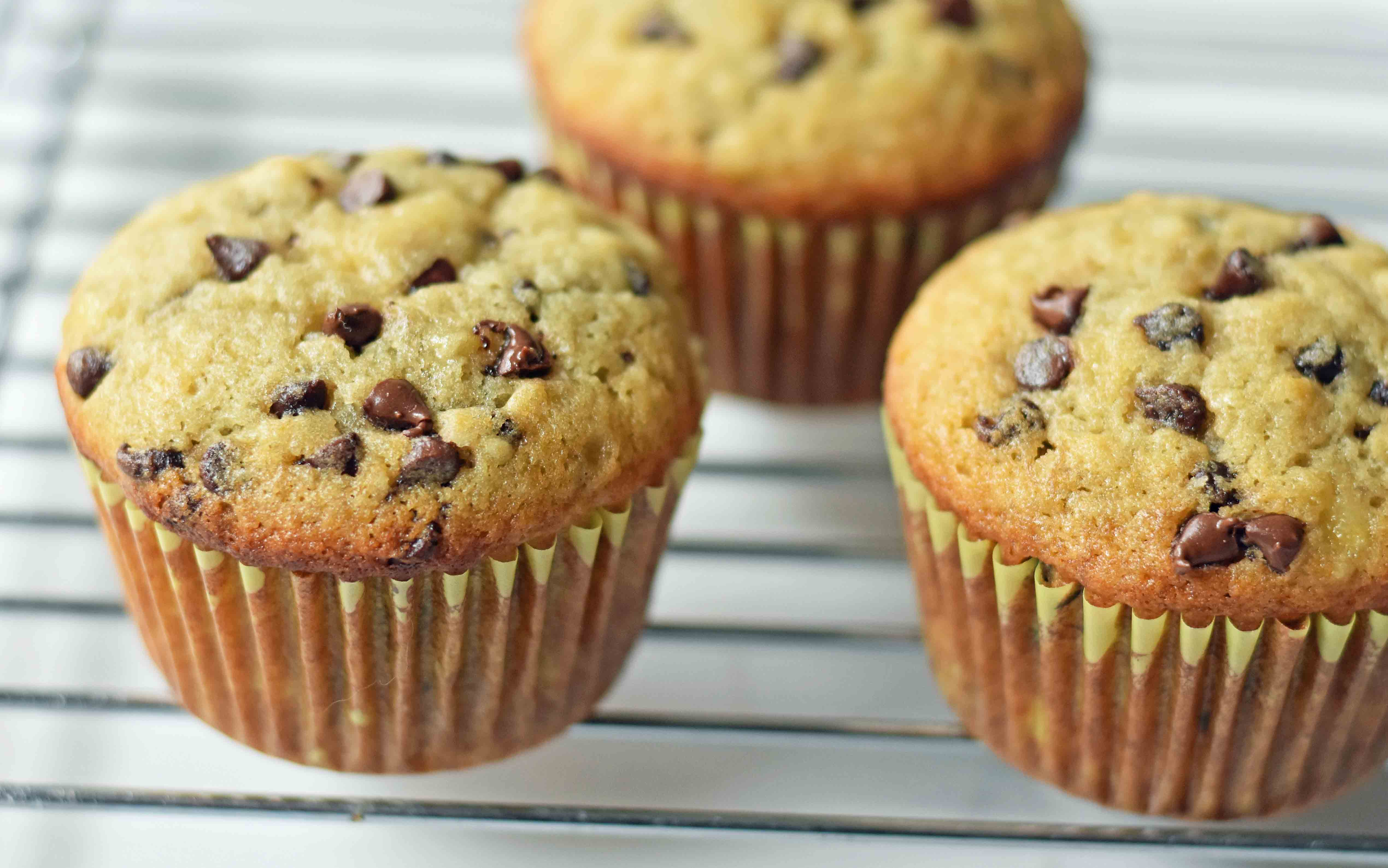 Chocolate Chip Banana Muffins. How to make homemade chocolate chip banana bread muffins from scratch. Moist and delicious and bursting with fresh banana flavor. www.modernhoney.com