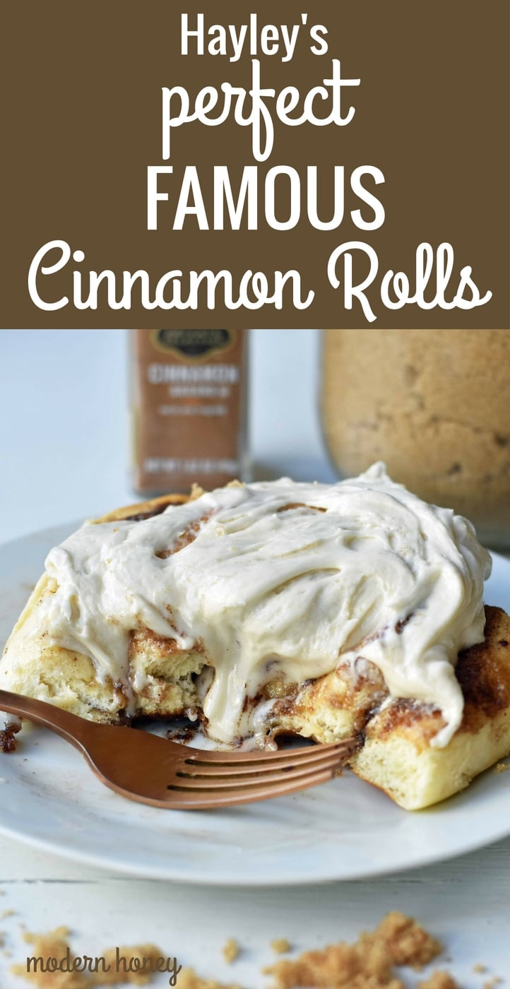 Hayley's Famous Cinnamon Rolls. Warm, ooey, gooey cinnamon brown sugar perfect cinnamon rolls. Tips and tricks on how to make perfect homemade cinnamon rolls. www.modernhoney.com