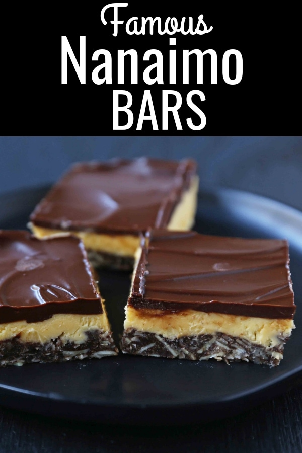 Homemade No-Bake Nanaimo Bars. A decadent dessert bar made with a chocolate graham cracker coconut crust, a creamy sweet filling, topped with chocolate ganache. A popular Canadian dessert called a Nanaimo Bar. www.modernhoney.com #nanaimobar #nanaimobars #dessertbars #dessertbar