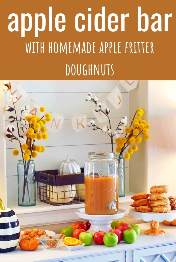DIY Apple Cider Bar and Homemade Apple Fritters Recipe. Fall entertaining made easy with an apple cider bar with toppings. www.modernhoney.com #applecider #fallentertaining #appleciderbar #applefritters #donutbar #doughnutbar