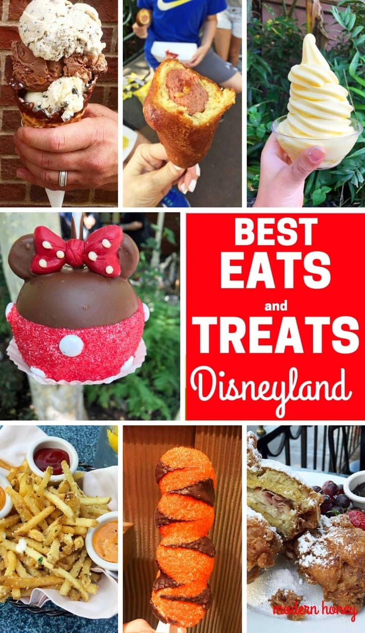 The Best Eats and Treats at Disneyland. The best food to eat at Disneyland. A list of the most popular and favorite food at Disneyland parks. A list of what to eat at Disneyland. www.modernhoney.com