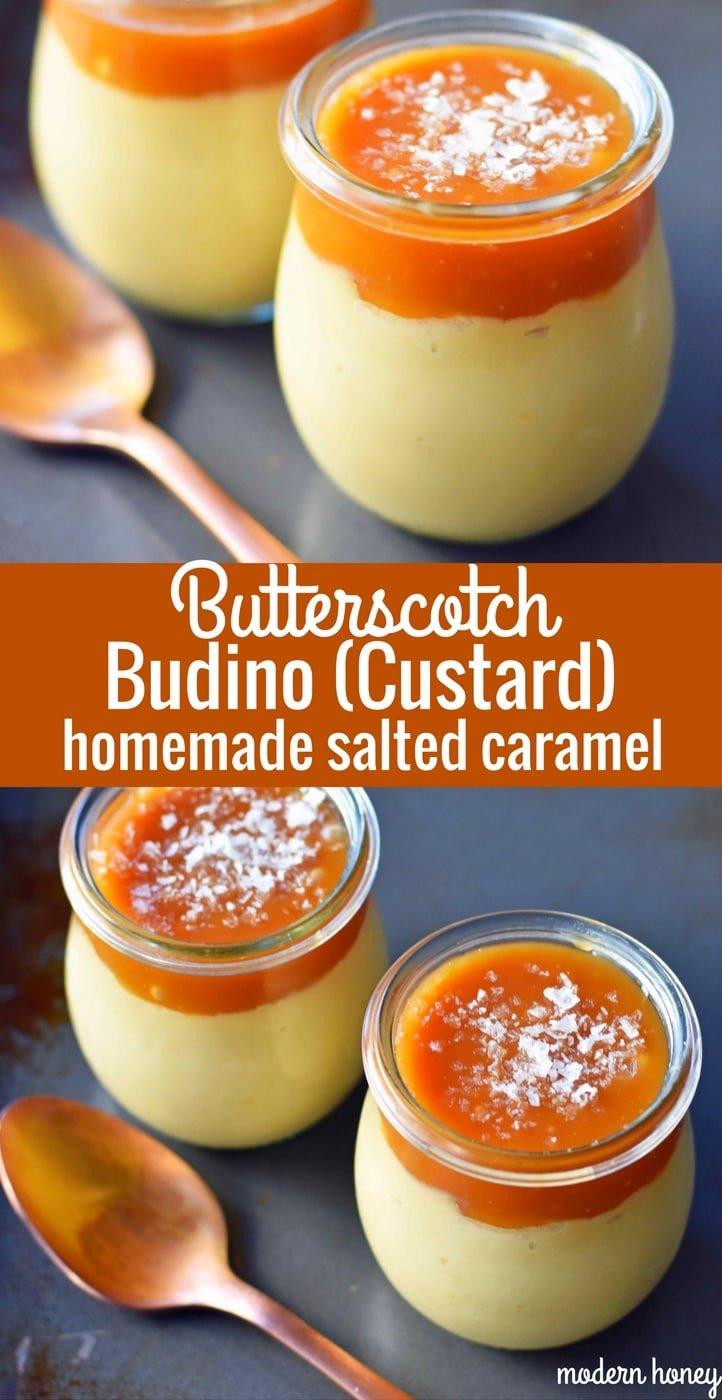 Butterscotch Budino or Custard Pudding with Homemade Salted Caramel. A layered butterscotch custard dessert with handcrafted salted caramel. www.modernhoney.com