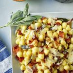 Pan Seared Brown Butter Gnocchi with Crispy Pancetta and Sage is a simple Italian pasta dish made with soft potato gnocchi sauteed in brown butter, crispy pancetta, and sage. It is an easy weeknight dinner for the family. www.modernhoney.com