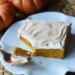 Pumpkin Sheet Cake with Cream Cheese Frosting. A pumpkin spice cake with a creamy homemade cream cheese frosting. A super simple, easy cake recipe! www.modernhoney.com