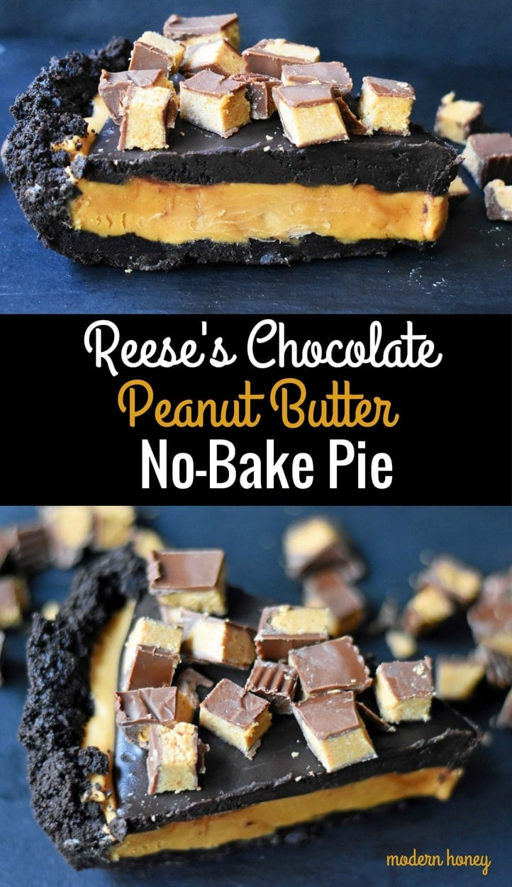 Reese's Chocolate Peanut Butter Cup Pie is made with an OREO Cookie Crust, Creamy Peanut Butter Filling, Chocolate Ganache, and topped with Reese's Peanut Butter Cups. A chocolate peanut butter lover's dream pie! A no-bake chocolate peanut butter pie with an OREO cookie crust will be a favorite dessert! www.modernhoney.com