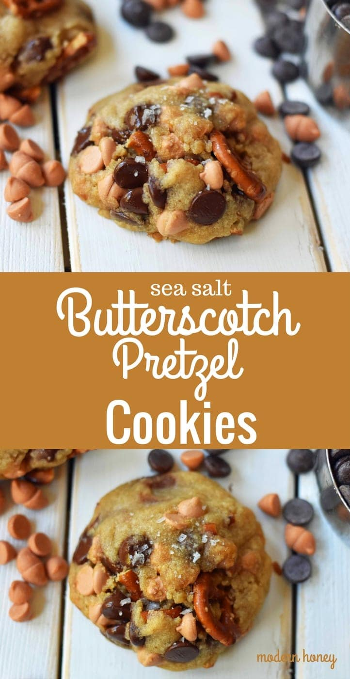 Sea Salt Butterscotch Pretzel Cookies are made with brown butter, sweet butterscotch chips, chocolate chips, and pretzels. The perfect sweet and salty cookie. A favorite cookie recipe! www.modernhoney.com