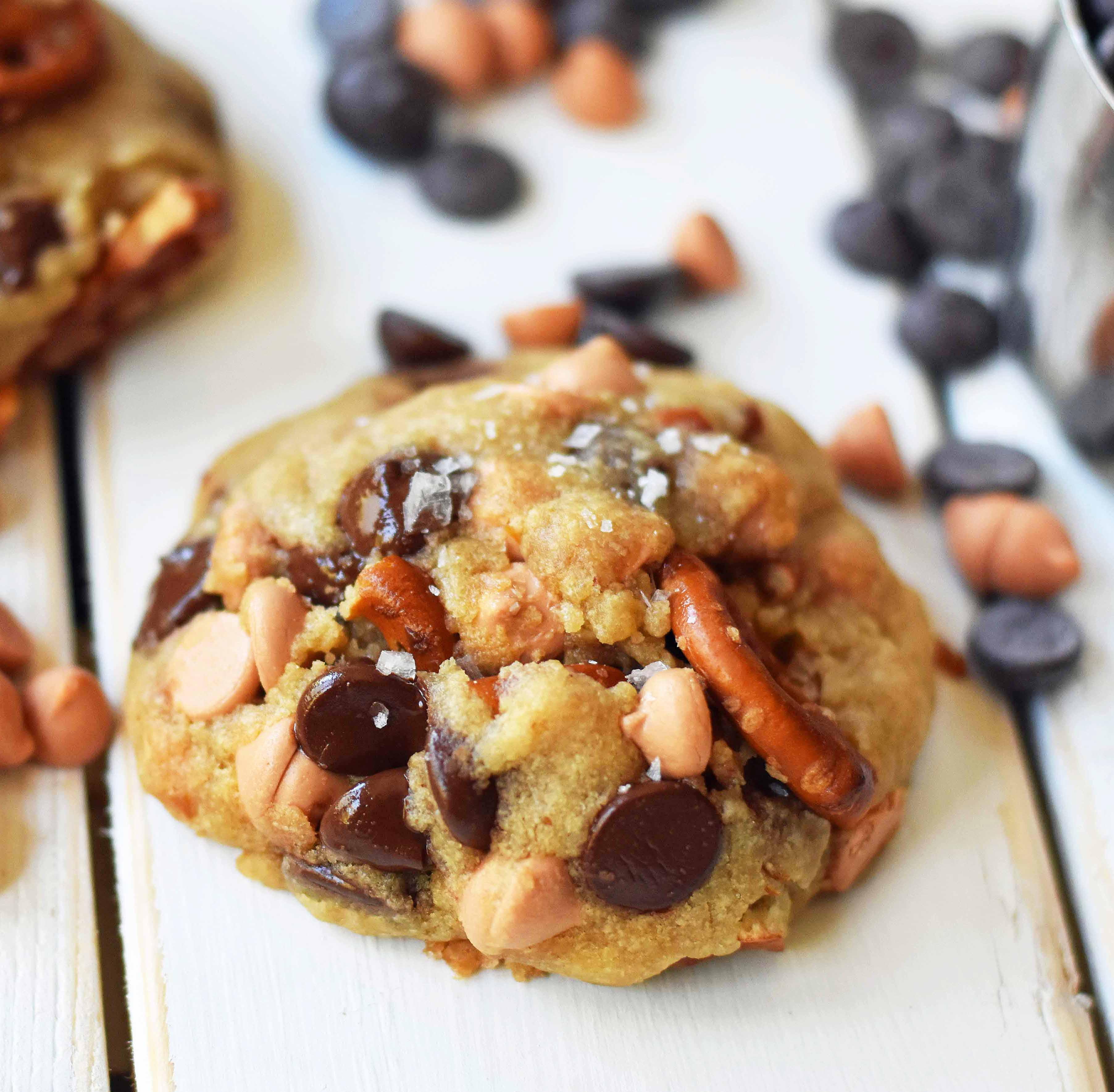 Sea Salt Butterscotch Pretzel Cookies. Soft chewy butterscotch pretzel cookie recipe. www.modernhoney.com #butterscotchcookies #pretzelcookies #butterscotchpretzelcookies