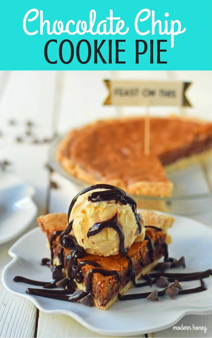 Chocolate Chip Cookie Pie with homemade chocolate chip cookie dough baked in a buttery flaky pie crust and topped with vanilla bean ice cream and hot fudge. The BEST Chocolate Chip Cookie Pie Recipe. www.modernhoney.com