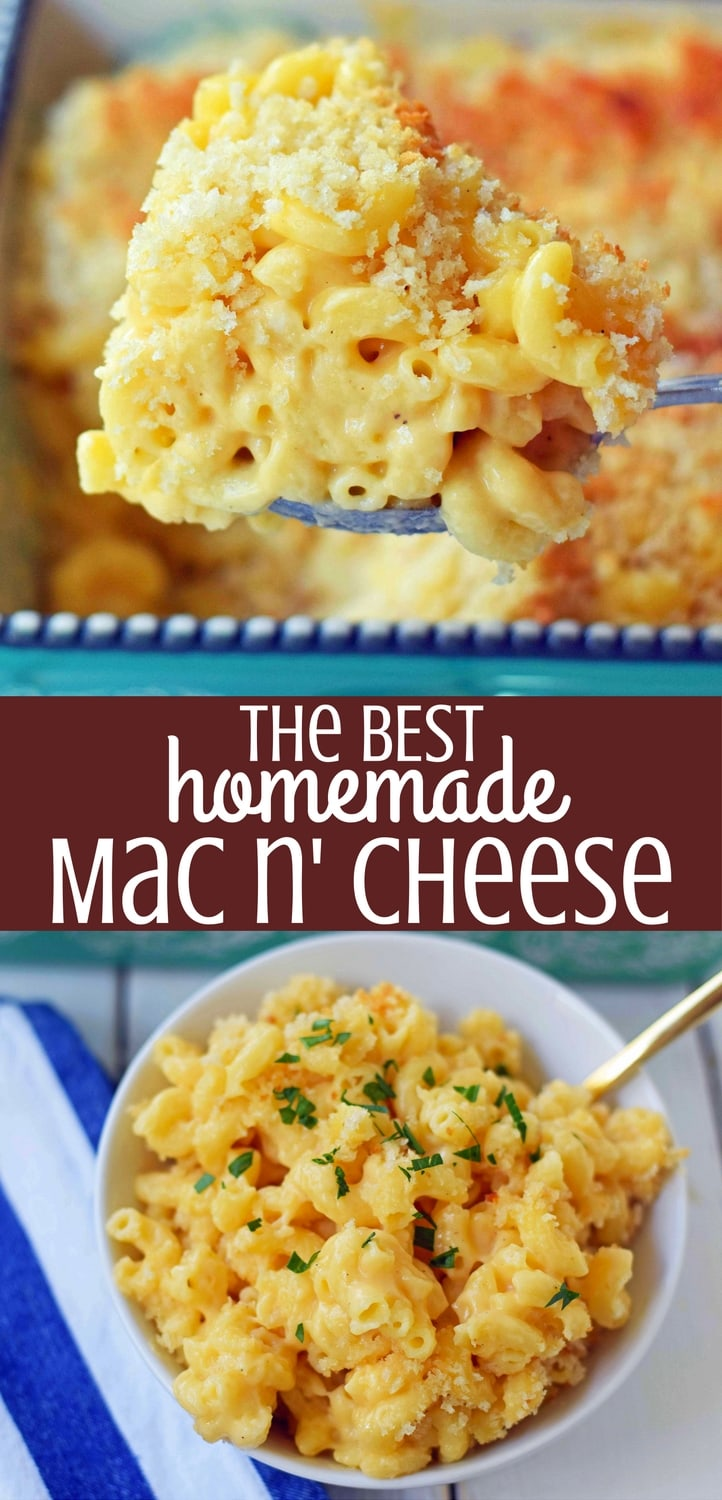 Homemade Macaroni and Cheese. Rich, creamy, and cheesy baked mac n' cheese recipe. Homemade mac n' cheese made with butter, cream, and two cheeses. The perfect side dish! www.modernhoney.com