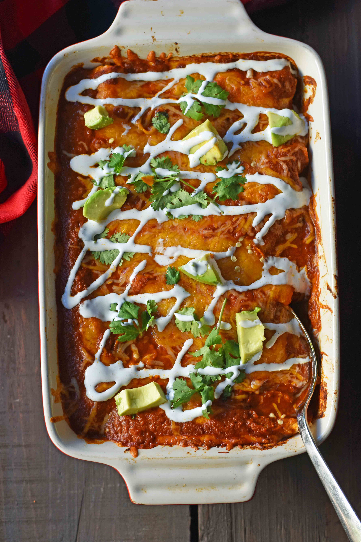 Red Chile Chicken Enchiladas with homemade red enchilada sauce. How to make enchilada sauce from scratch. The best red chicken and cheese enchiladas. www.modernhoney.com