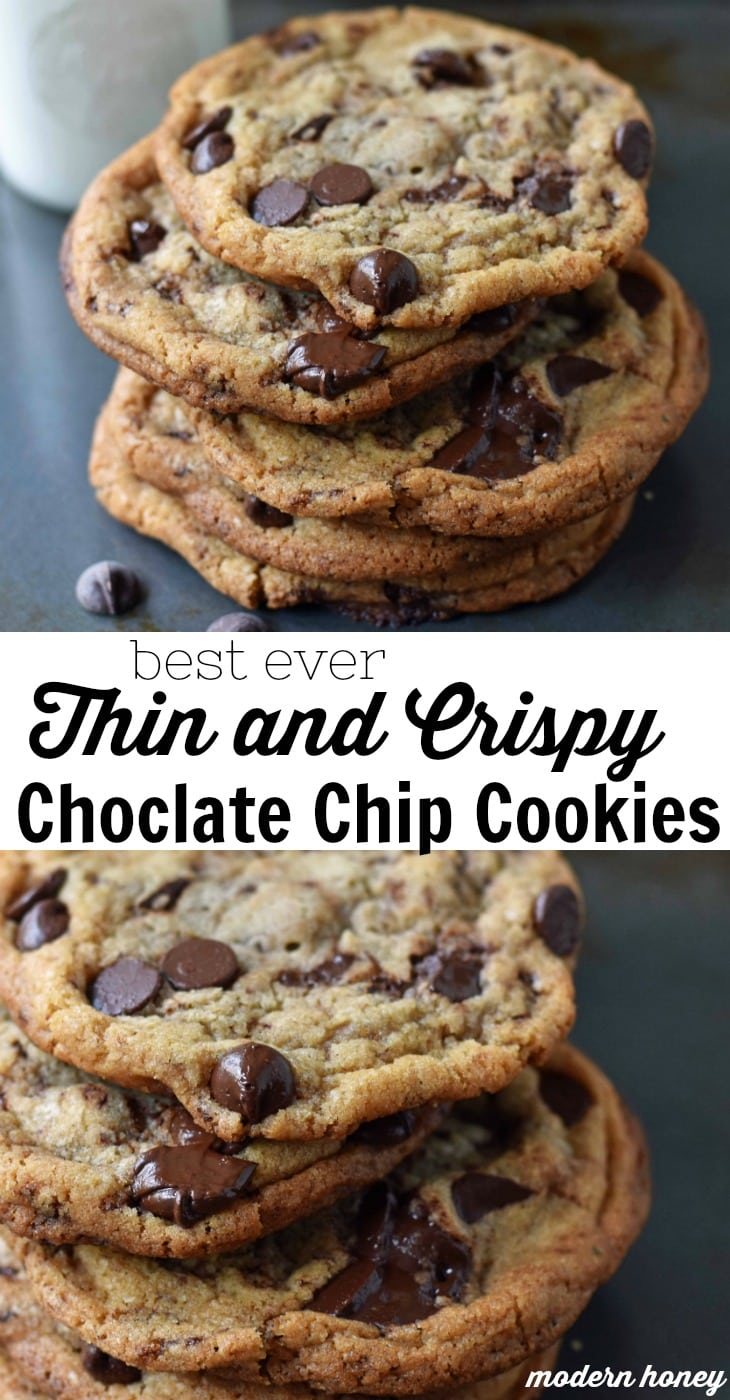 Thin and Crispy Chocolate Chip Cookies. How to make a perfect thin and chewy chocolate chip cookie. Brown butter chocolate chip cookie recipe. A perfect thin and chewy chocolate chip cookie. www.modernhoney.com