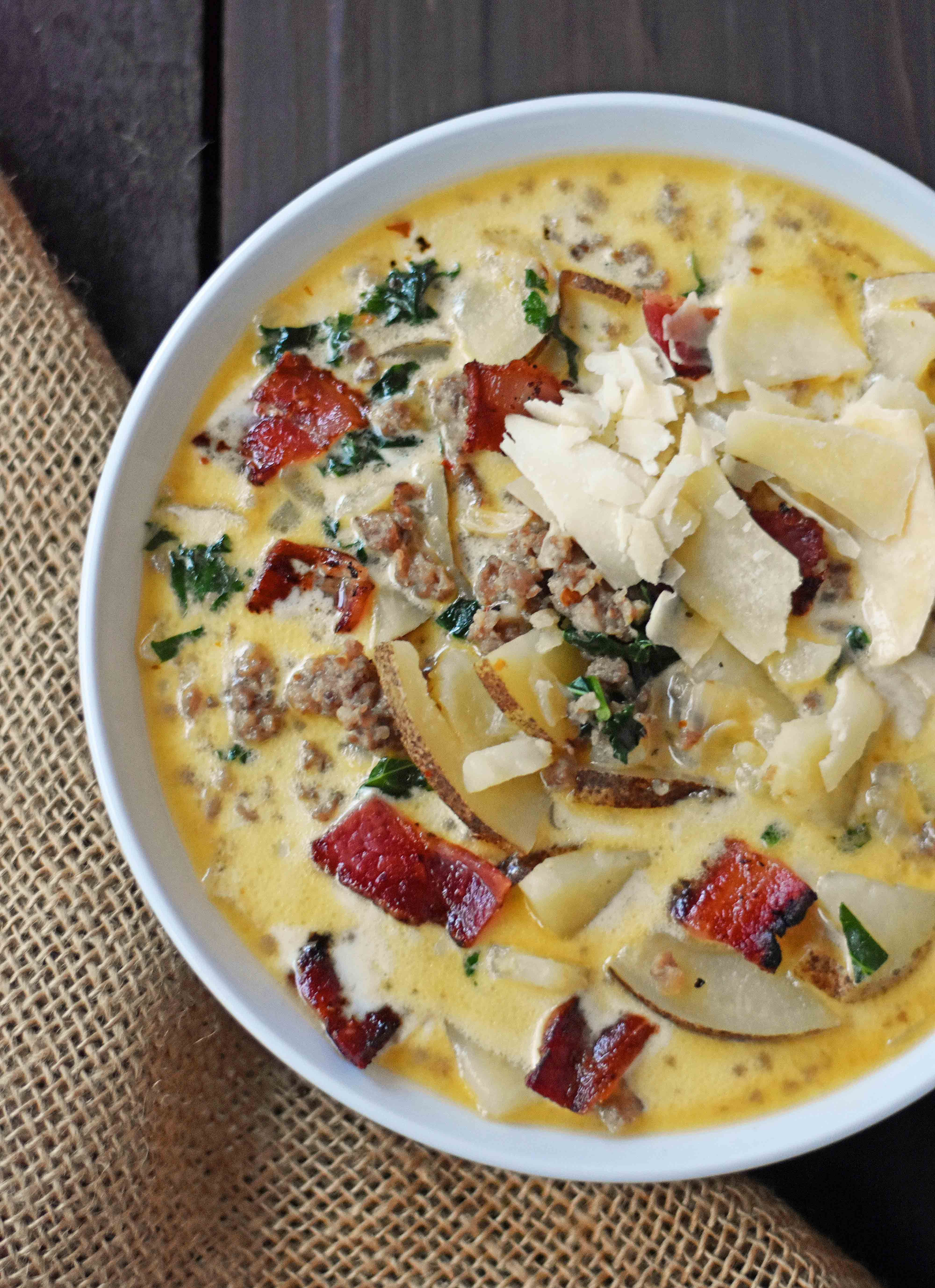 Zuppa Toscana Soup Olive Garden Copycat Recipe. Sausage, Potato, And Bacon  Cream Soup