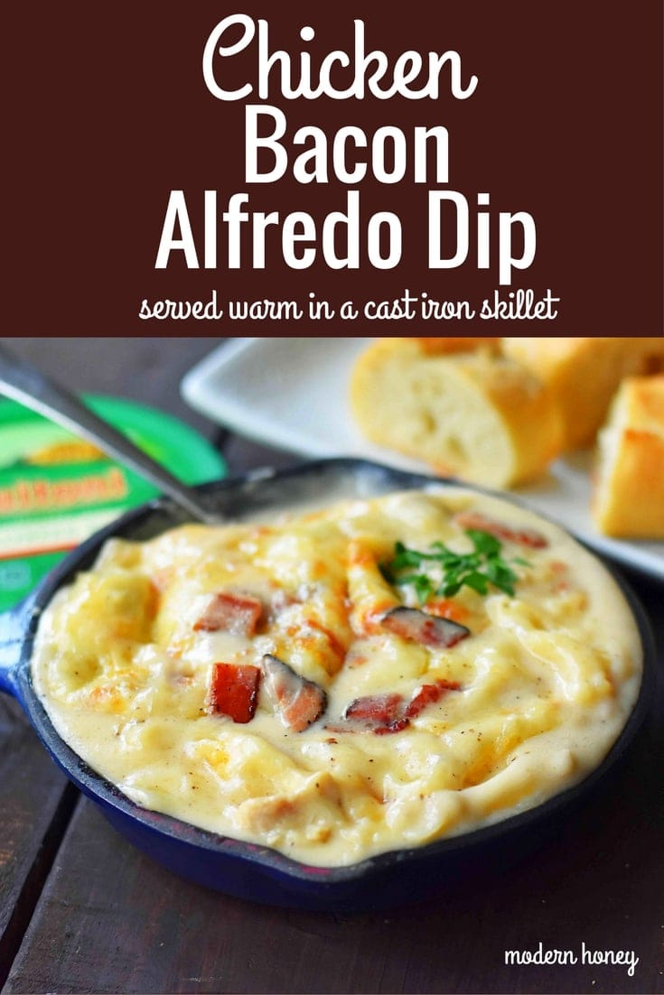 Chicken Bacon Alfredo Dip with Sautéed Chicken, Buitoni Alfredo Sauce, Crispy Bacon and baked with Mozzarella and Buitoni Parmesan Cheese. Served with sliced French Bread. A savory and cheese-filled baked appetizer that will please the masses! www.modernhoney.com
