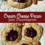 Cream Cheese Pecan Jam Thumbprint Cookies are a chewy pecan cookie baked until golden and topped with fresh berry jam. A soft and chewy cream cheese pecan cookie topped with fresh jam. www.modernhoney.com