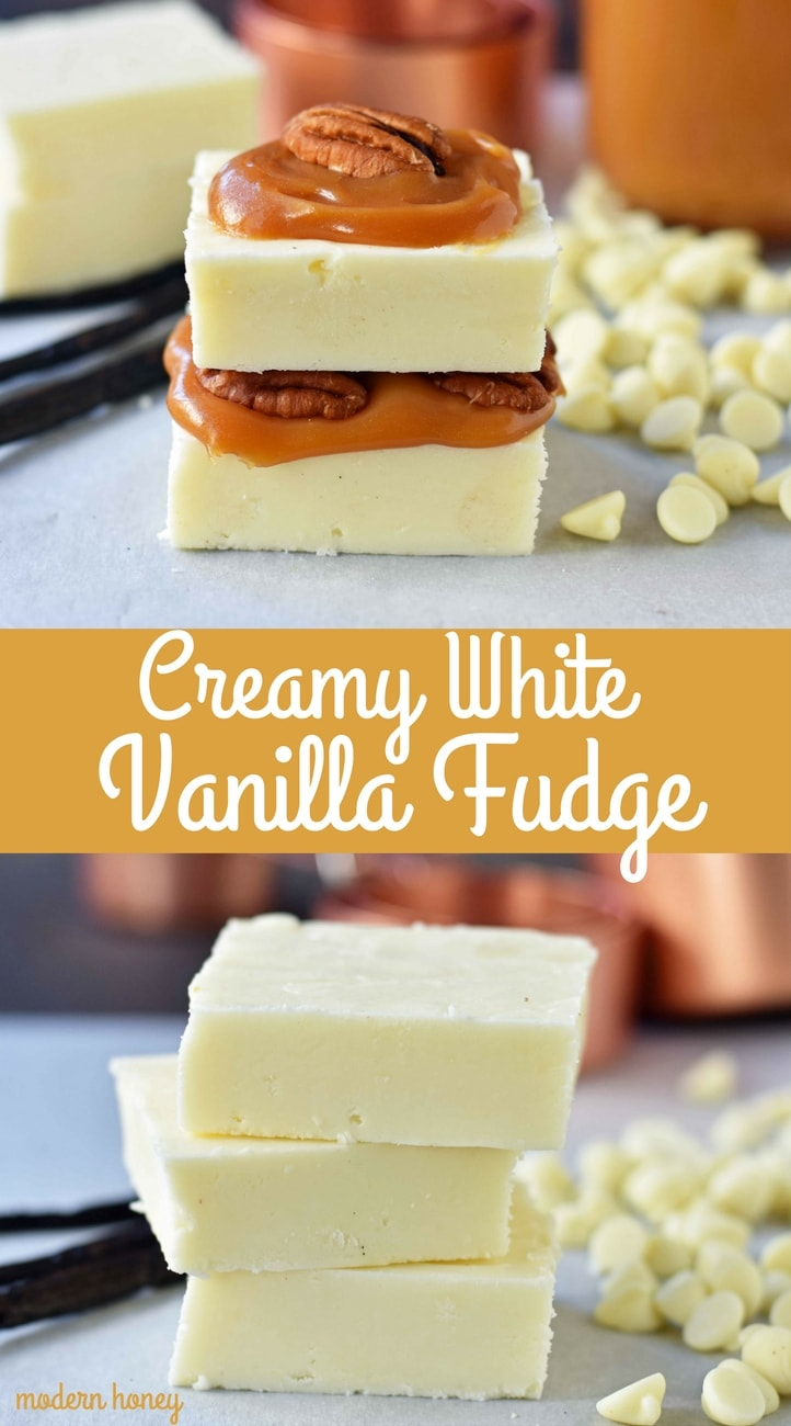 Creamy White Vanilla Fudge. Secrets, tips, and tricks for making perfect white vanilla white chocolate fudge every single time. Two secret ingredients that make this creamy white vanilla fudge the BEST fudge ever. www.modernhoney.com