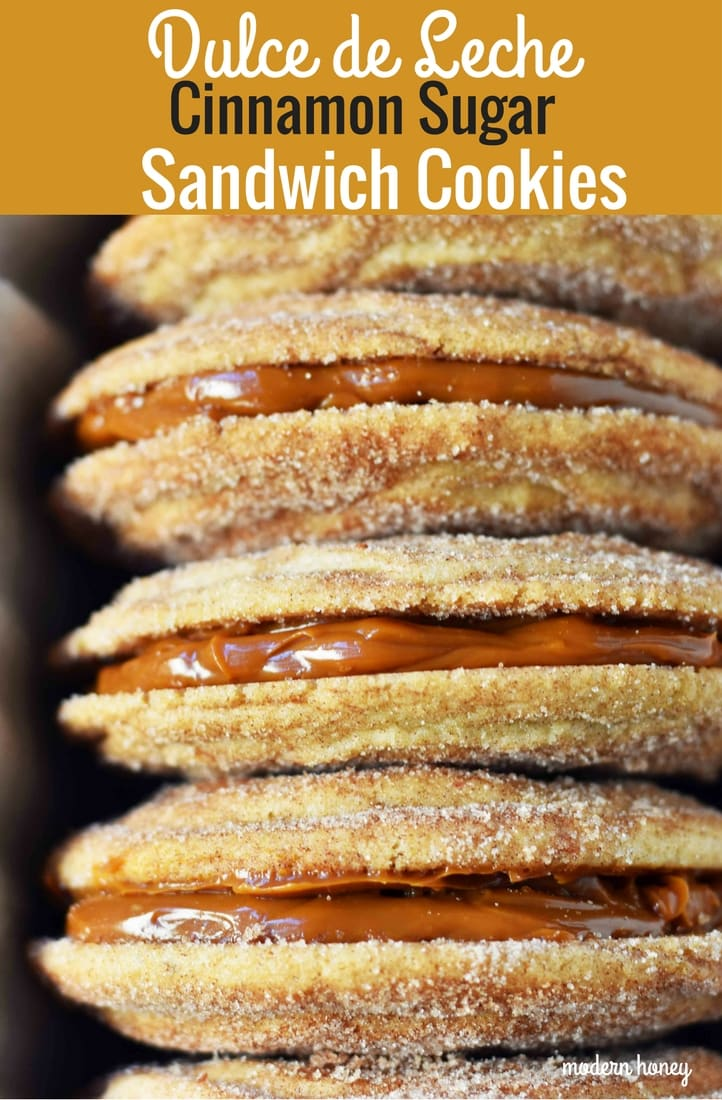 Dulce de Leche Cinnamon Sandwich Cookies. Cinnamon sugar snickerdoodles cookies stuffed with buttery dulce de leche caramel. A cinnamon sugar caramel cookie. www.modernhoney.com