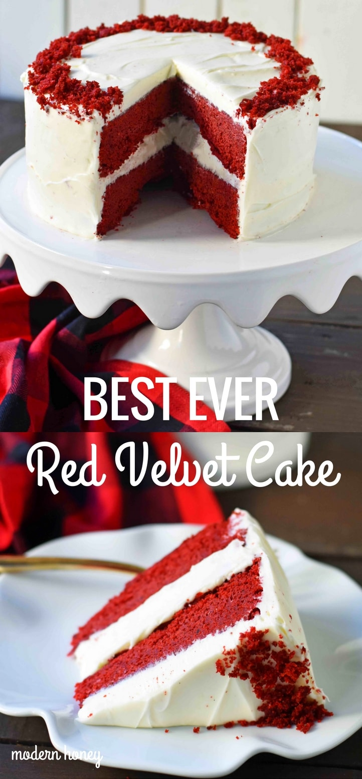 Red Velvet Cake. The best red velvet cake recipe ever. Moist and tender red velvet cake with sweet cream cheese frosting. The perfect red velvet cake recipe. www.modernhoney.com