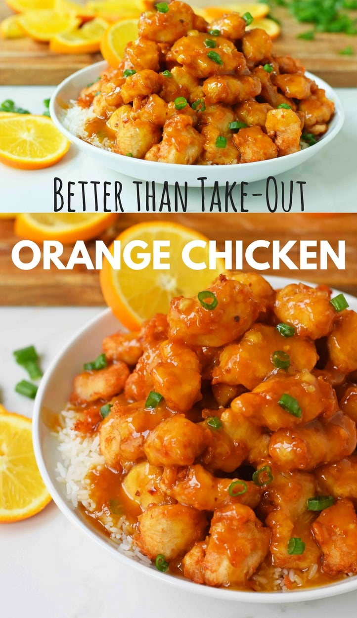 Chinese Orange Chicken that is better than take-out. How to make ORANGE CHICKEN at home with a sweet orange sauce. www.modernhoney.com