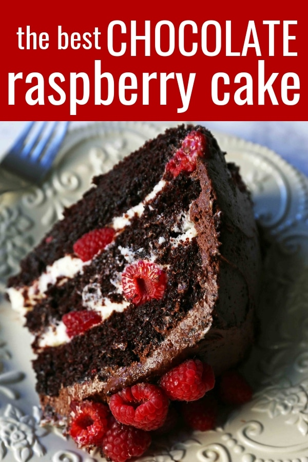 Chocolate Raspberry Cake. Moist chocolate cake with sweet cream cheese filling, fresh raspberries, and rich chocolate frosting. www.modernhoney.com #chocolateraspberrycake #cake #cakes #cakerecipe