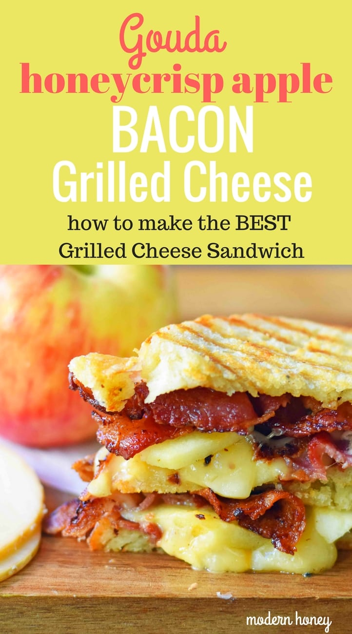A gourmet grilled cheese sandwich made with smoked gouda cheese, sweet crisp Honeycrisp apple slices, and crispy bacon all on sourdough bread. How to make the perfect grilled cheese sandwich. Tips on how to make the best grilled cheese. www.modernhoney.com