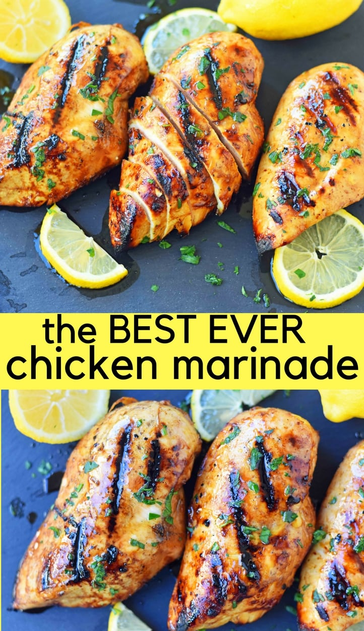 The Best Chicken Marinade Recipe makes chicken extra juicy and flavorful. This savory marinade makes grilled chicken mouthwatering! This Grilled Chicken Marinade Recipe is made with extra virgin olive oil, freshly squeezed lemon juice, balsamic vinegar, soy sauce, brown sugar, Worcestershire sauce, garlic, salt, and pepper. The perfect chicken marinade recipe! www.modernhoney.com