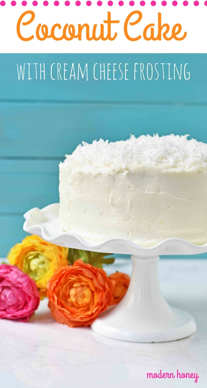 The Best Coconut Cake Recipe. Moist coconut cake with sweet cream cheese frosting. The perfect Southern Coconut Cake Recipe. www.modernhoney.com