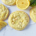 Lemon White Chocolate Chip Cookies. Soft and chewy lemon sugar cookies with white chocolate chips. White Chocolate Lemon Cookies Recipe. www.modernhoney.com