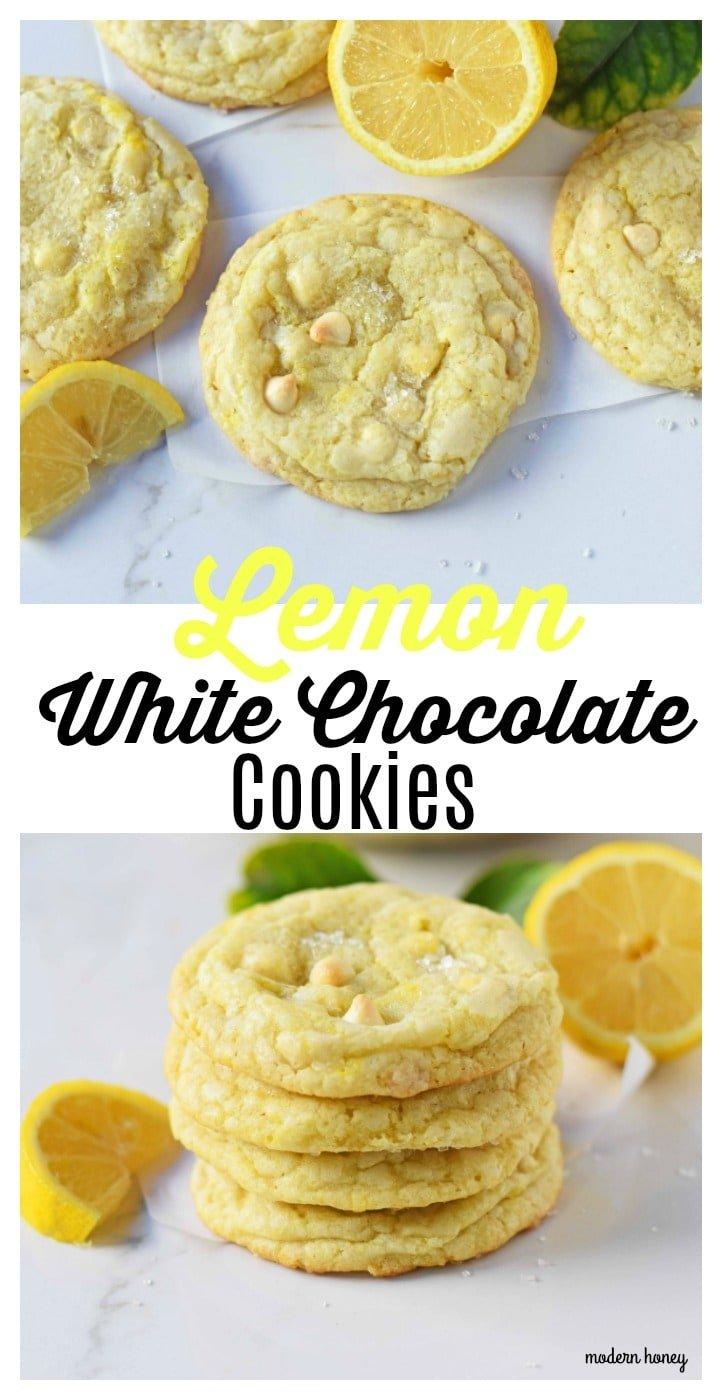 Lemon White Chocolate Chip Cookies. Soft and chewy lemon sugar cookies with white chocolate chips. White Chocolate Lemon Cookies Recipe. www.modernhoney.com